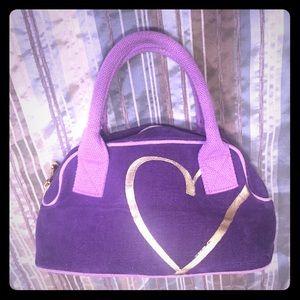 Purple satchel, gold hearts, by Victoria's Secret